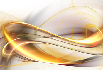 Gold fractal wave on white background