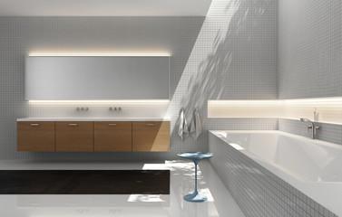 Grey white, wood sink, modern elegant luxury bathroom,