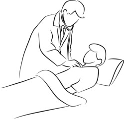 doctor use stethoscope with patient