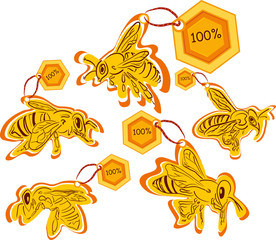 bee labels of high quality product