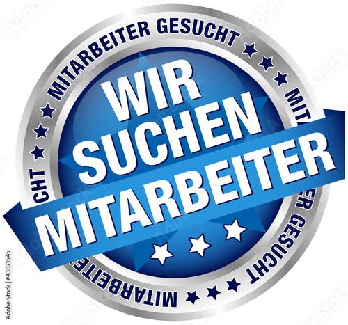 """Button Banner """"Wir suchen Mitarbeiter"""" blau/silber"""