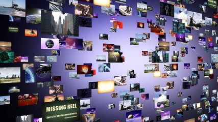 Flight through animated video wall