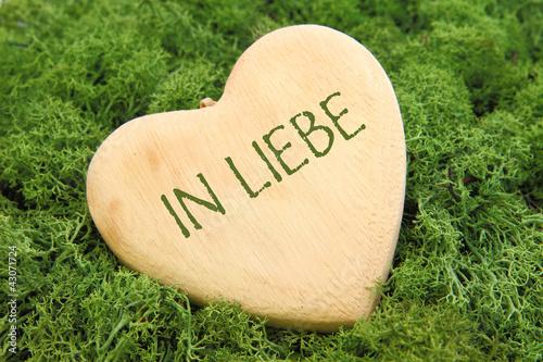 In Liebe - Holzherz auf Moos
