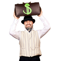 Senior businessman holding money bag