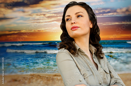 Portrait of young woman at beach and enjoying time. Idealistic a