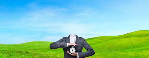 Conceptual image of a no head woman outdoor, lots of copy space