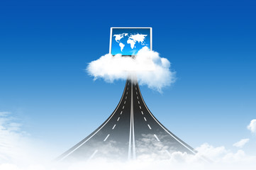 Road to Computer on the cloud, for colud computing concept and b