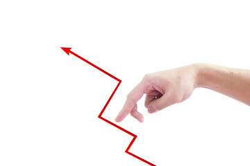 finger walk to target red graph over the isolated white backgrou