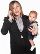 Frustrated Lady on Phone with Baby