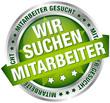 """Button Banner """"Wir suchen Mitarbeiter"""" grün/silber"""