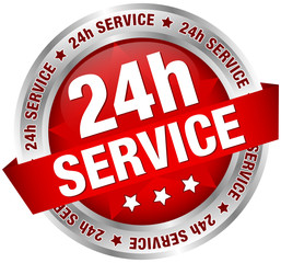 """Button Banner """"24h Service"""" red/silver"""