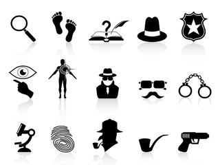 black detective icons set