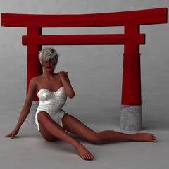 Model vor einem japanischen Bauteil