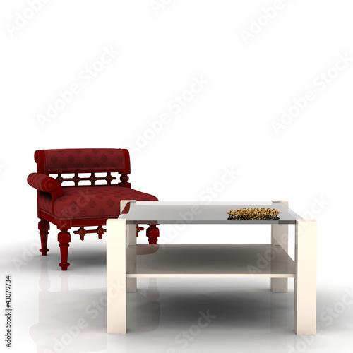 Couchtisch und Sessel