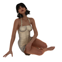 Rendered model in contemplative pose