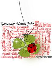 Neujahr, Silvester Karte mit Kleeblatt