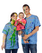 Family smiling after having a paint fight