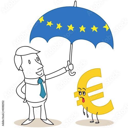 Geschäftsmann, Euro, Schirm