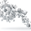 Abstract 3D glossy white cubes background.