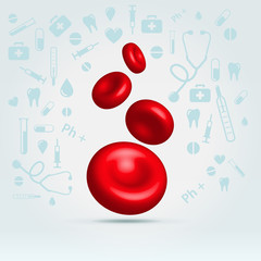 Glossy realistic natural red blood cells