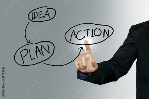 Business man pointing business plan on the screen background