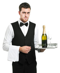 Waiter holding champagne on a tray