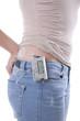 Leinwandbild Motiv Young girl with insulin pump