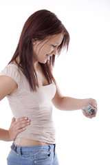 Young girl with insulin pump