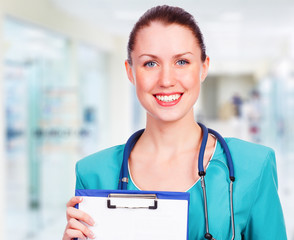 Medical doctor woman in the office
