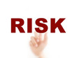Finger pointing RISK, for risk management concept