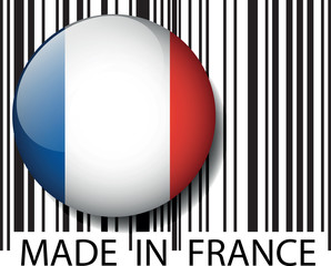 Made in France barcode. Vector illustration