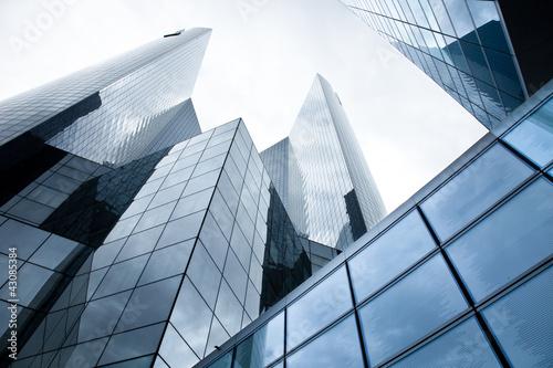 Leinwanddruck Bild Hochhäuser - Banken