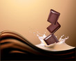 milk and chocolate. Vector realistic illustration