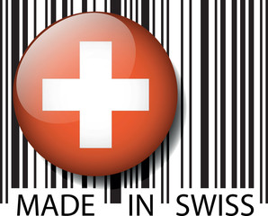 Made in Swiss barcode. Vector illustration