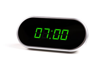 digital alarm clock with green digits