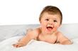 bambina sorridente su sfondo bianco