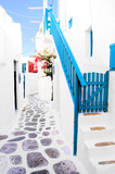 Beautiful whitewashed street in the old town of Mykonos, Greece - 43088978