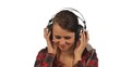 Yong woman listening music isolated