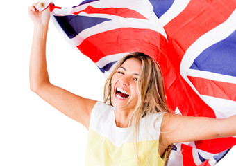 Happy woman with British flag