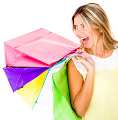 Happy female shopper