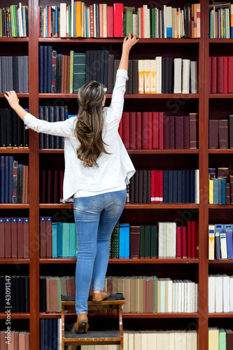 Woman at the library