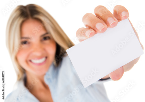 Woman holding a contact card