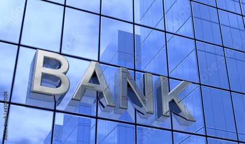Leinwandbild Motiv Bank Konzept Silber Blau 3