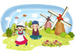 Children playing with background in windmills