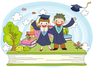 Girl and boy in graduation gowns