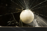 Golf Ball Through Glass Window.