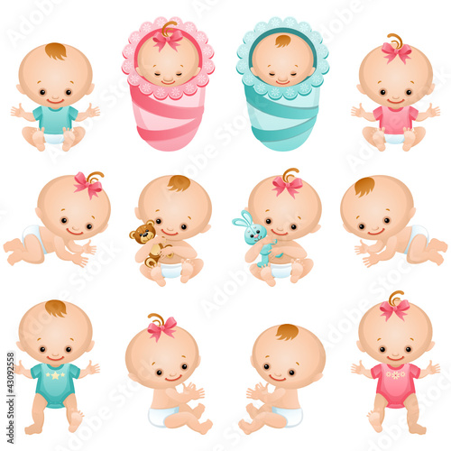 newborn baby icon set