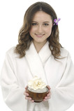 portrait of young woman holding bowel of flower poster