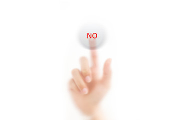 man finger pressing a touchscreen YES button