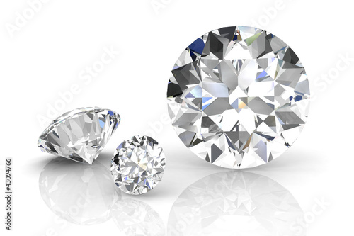 canvas print picture diamond jewel on white background. High quality 3d render